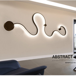 Wholesale Modern Contemporary Decor - Modern Abstract Art Decor LED Wall Light Bedside Wall Sconce Aluminum Acrylic Mounted Lighting Fixture For Bedroom Foyer