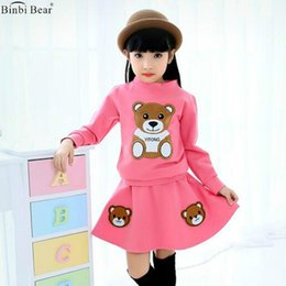 Wholesale Korean Two Piece Dresses - Girl Spring And Autumn Suit 2017 New Bear Korean Version Of Fashion Children's Dress Skirt Little Girl Sports Skirt Two-piece