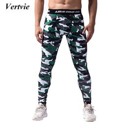 Wholesale Wine Leggings - Wholesale-Vertvie Camouflaged Running Leggings Tights Men High Elastic Breathable Active Sport Pants Quick Dry Compression Trousers Autumn