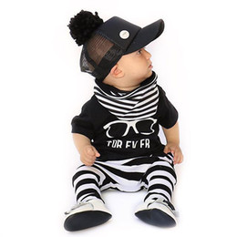 Occhiali online-T-shirt   Glasses T-shirt and Pants and Scarf   3pcs Set Black and White Stripe Leggings INS  Stripe Scarf Little Kids Baby