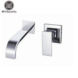 Wholesale Single Bathroom Sinks - Wholesale- Free Shipping Single Handle Wall Mounted Waterfall Basin Sink Faucet Chrome Finished Bathroom Mixer Tap