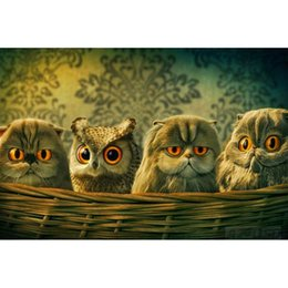 Wholesale Owl Baby Room - Baby Owls in Basket Full Drill DIY Mosaic Needlework Diamond Painting Embroidery Cross Stitch Craft Kit Wall Home Hanging Decor