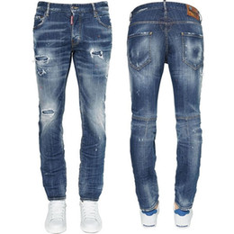 cool jeans patches UK - Men Red Logo Patch Destroyed Jeans Slim Biker Fit  Colorful Painted c3d094774