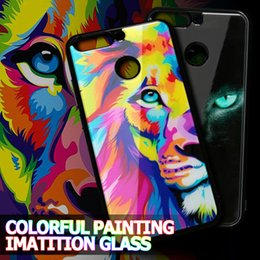 Wholesale Glass Tigers - For Iphone X 8 Plus Owl Tiger Unicorn Case Acrylic Colorful Painting Imitation Glass Back Cover For Samsung s8 Plus Note 8 VIVO X9S OPP BAG