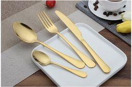 Wholesale Yellow Cutlery - Stainless Steel Gold Dinnerware Cutlery Dishwasher Tableware Knife Fork Teaspoon Cutlery Set Tableware 4 Piece Set