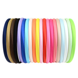 hair hoop stick Coupons - 20Pcs Lot Fashion Girls Hair Hoop Women hairband Plastic Satin Covered Headbands narrow Hair Band Accessories 754