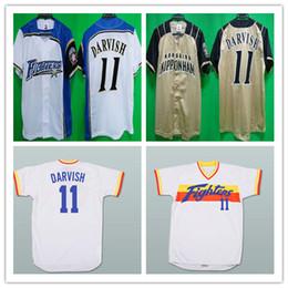 2019 basebol customizável barato Personalizado 11 Yu Darvish Hokkaido Nippon-Ham Lutadores Jerseys Amarelo Basebol Alternate Costurado Qualquer Número Nome Camisas Barato Bom basebol customizável barato barato