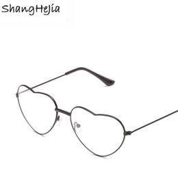 Gold herz geformte gläser online-2018 Ladies Heart Shaped Woman Brille Optische Rahmen Metall Liebe Clear Lenses Brille Gläser lesen