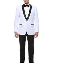 Canada Nouvelle arrivée garçons d'honneur châle cravate marié marié smokings hommes blancs costumes de mariage / bal de promotion meilleur homme blazer / marié (veste + pantalon + noeud papillon) M344 Offre