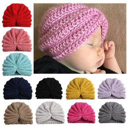 crochet maternity Coupons - 2018 Ins Maternity Baby knitting wool hat Beanie Indian Solid hats Winter ears protection wholesale