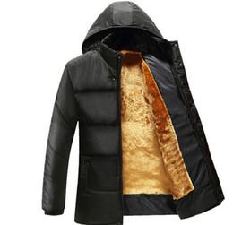 Wholesale fleece down jacket - Father Down Jackets Winter Thicken Warm Fleece Coats Men Hooded Windbreaker Jacket Outerwear Coat