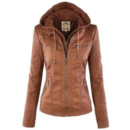Wholesale leather hat xl - Women Jackets Female Faux Leather Jacket Long Sleeve Hat Removable Basic Coats Waterproof Windproof Winter Women's Clothing
