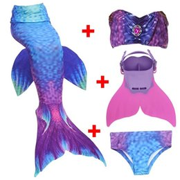 Wholesale Swimming Costume Girl - 4PCS Set Swimmable Children Dianonds Mermaid Tail With Monofin Fin Girls Kids Swimsuit Mermaid Tail Costume for Girls Swimming