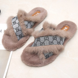 2b2c28e4d27 Cross Fur Slippers Female 2018 Winter New Rabbit Fur Flat Wear Outside Wild Women  Slippers Fashion Shoes Woman At Home