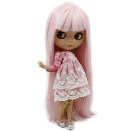Wholesale Burn Big - ICY Nude Blyth Doll Serires No.BL 2352 Pink Straight hair JOINT body burning skin with big breast Factory Blyth
