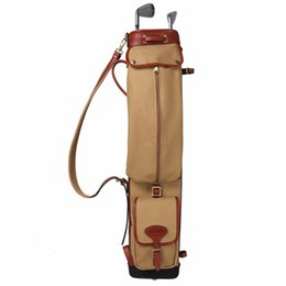 Wholesale Leather Carrier - Tourbon Vintage Golf Club Carry Bags Travel Case Canvas and Leather Pencil Style Golf Gun Carrier Clubs Interlayer Cover 87CM