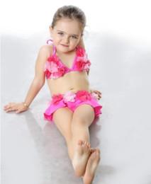 Wholesale orange swimsuit skirt - 2018 Water fun!Children's Lovely beautiful Beach wear swimsuit women's split skirt flower bikini baby swimsuit 0-5 years old