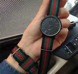 Wholesale nylon faces - Man Luxury quartz watches New Arrival 40MM Black Face Nylon Strap Sport Fashion Mens simple casual watch Reloj masculino Relógio 2018