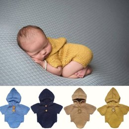 Wholesale Cashmere Outfit - Newborn Photo Prop Hooded Romper Knitted Baby Outfit Photography Baby Boy Romper Crochet Clothes Baby Photoprops Infant Costumex