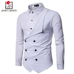 Wholesale Fake Brand Dresses - Men Shirt 2018 Spring New Brand Men's Slim Fit Dress Shirt Male Long Sleeves Fake two Casual Camisa Masculina Size M-XXL