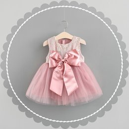 Wholesale American Girl Christmas Dress - kids clothing summer girl kids short sleeve lace back bow decoration dress kids short sleeve zipper elegant dress girl dress 11-color