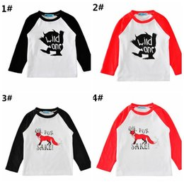 "baby boy winter tshirts Coupons - ""Wild One"" Boys Girls Cotton T-shirts Baby tshirts Clothing Cartoon Letters Long Sleeve Infant Tshirts Boutique Infant Tees Tops Clothes"