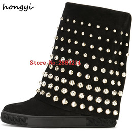 Wholesale Height Increasing Motorcycle Boots - Luxury Women Style Bead Height Increasing Round Toe Knee High Boots Black Beige Suede Platform Lady Motorcycle Boots Slip-on