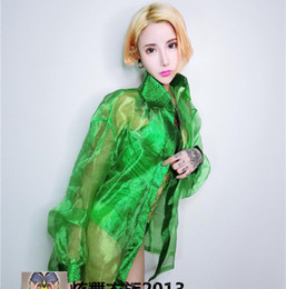 Wholesale Unitards For Women - (jacket+bra+shorts)3 pieces set female nightclub stage costumes green jacket sexy slim DJ performance for singer dancer star bar show party