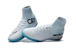 Wholesale Indoor Soccer Sneakers - 100% Original White Blue CR7 Indoor Soccer Shoes Mercurial Superfly IC Football Boots Mens Training Sneakers Soccer Cleats