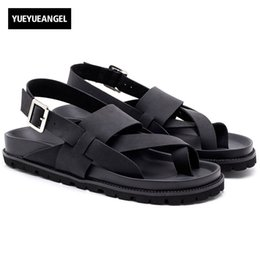 eb2ff215688d Top Quality Mens Cross Straps Buckle Beach Sandals Antiskid Platform Genuine  Leather Gladiator Classic Male Casual Shoes Black
