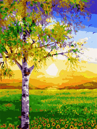 Wholesale Wall Art Wood Panels - DIY Oil Painting By Numbers Morning Woods Hand Painted Canvas Modern Wall Picture For Living Room Home Decor Wall Art Landscape Painting