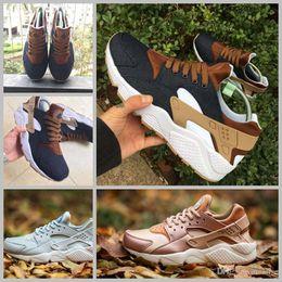 Wholesale breathe light - 2018 Huarache ID Custom Breathe Running Shoes For Men Women Women Men navy blue tan Air Huaraches Sneakers Huraches Brand Hurache Trainers