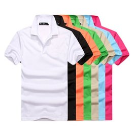 Wholesale big brown sale - hot sale Polo Shirt Big small Horse crocodile tommy embroidery Men's Polos Solid Short Sleeve Summer Casual Polo Men's Tees & Polos