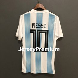 Wholesale red sky jersey - Argentina Home Away Sky Blue White Football Soccer Jerseys Messi Tevez Mascherano Maradona Kun Aguero Higuain Di Maria Icardi