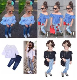 Wholesale Free Outfits - 2018 New Fashion Baby Girls Striped Lace Off Shoulder+ Denim Pants 2Pcs Outfits INS Kids Girls Clothing Free Shipping 4 Styles