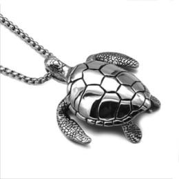 Collana ciondolo turchese per gli uomini online-Nuovo stile all'ingrosso carino fortunato tartaruga tartaruga carino pendente in acciaio inox turchese pietra uomini collana pendente gioielli