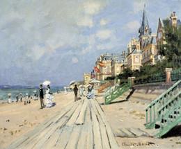 Pintura de panel multi playa online-Playa en trouville por Claude Monet Pintado a mano de alta calidad HD Arte del paisaje Pintura al óleo sobre lienzo Tallas múltiples / Opciones de marco l155