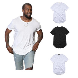 Wholesale blank tee top shirts - mens designer t shirts Hip Hop Urban Blank Justin Bieber Shirts Extended T-Shirt Men's clothing Curved Hem Long line Tops Tees DH080
