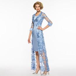 Argentina 2018 Fengyudress Apliques de encaje azul Madre de los vestidos de novia Longitud del tobillo Dos piezas Vestido de noche de la envoltura Vestidos de fiesta largos Suministro