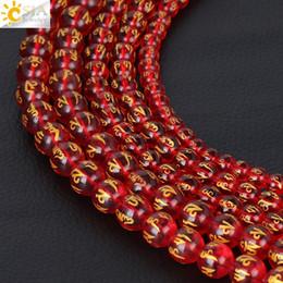 laserperlen Rabatt CSJA 8 MM OM MANI PADME HUM Mantra Laser Carving Rote Glasperle Stein Schmuck Buddha Runde Lose Perlen Strang Perlen Armband Handgemachte F299