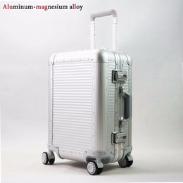 Wholesale 24 Spinners - Wholesale-20'' 22'' 24'' Aluminum Luggage Travel Trolley Suitcase Metal Hardside Rolling Luggage Suitcase Carry on Luggage Boarding Case