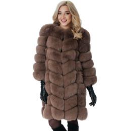 Wholesale Winter Coats Fashion Ladies Fur - Cute Shaggy Fur Patchwork Knee-Length Jacket Women Fashion Winter Straight Elegent Female Ladies Faux Furs Coat FC024