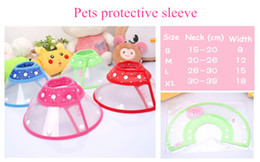 Wholesale pet sleeves - A48 Pets protective sleeve Colorful Pet Dog Cat Collar Elizabeth headgear Ruff pets Neck Plastic Protective collar