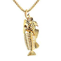 colar de osso por atacado Desconto Encantos Fish Bone Gancho De Pesca Pingente Colares De Aço Inoxidável Shellhard Oco Esqueleto de Osso Colar de Moda de Jóias Por Atacado