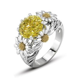 Wholesale Gold Color Rings - Sunflower Ring Color Zircon Gold Plated Gemstone Crystal Ring High End Jewelry European American Fashion Women Gift Wholesale 2Color & 5Size
