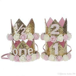 Wholesale Wholesale Birthday Hats Crowns - 1st Baby Girls Birthday Hat Newborn Flower Girls Headband Crown Girls Hair Accessory Glitter Baby Newborn Headwrap