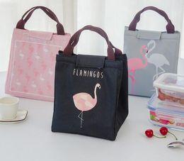 Wholesale Cooler Foods - Free Shipping Flamingo Tote Thermal Bag Black Waterproof Oxford Beach Lunch Bag Food Picnic For Women kid Men Cooler Bag