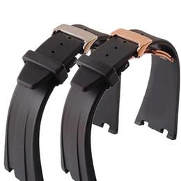 Argentina Para Audemars 28 mm, correa de reloj de gel de sílice de caucho negro + broche de oro para AP Piguet + herramientas banda de reloj impermeable supplier gold ap Suministro