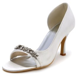 ivory satin wedding sandals Promo Codes - Summer Sandals Women EP2083 Peep Toe D'Orsay White Ivory Wedding Shoes Crystal High Heel satin Lady Bride Prom Party Dress Pumps