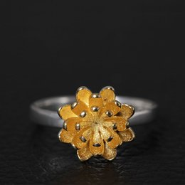 Wholesale American Fine Jewelry - Charm fashion jewelry fine 925 Sterling silver A woman's chrysanthemum open ring Daisy ring china direct wholesale